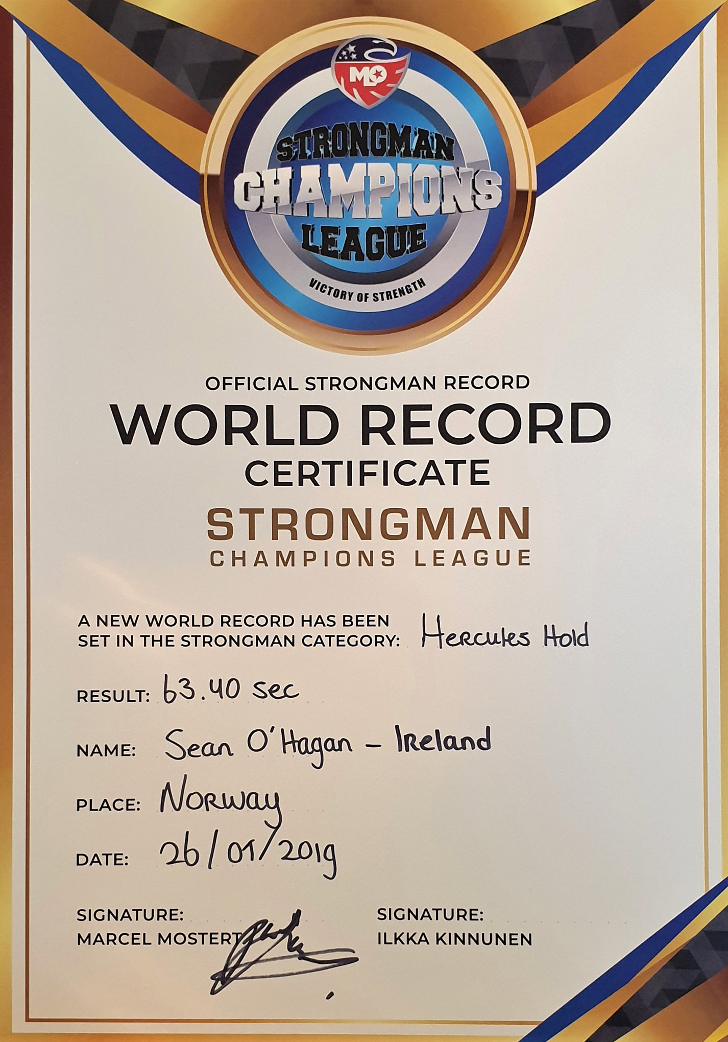 Sean O-Hagan Hercules Hold Record 2019